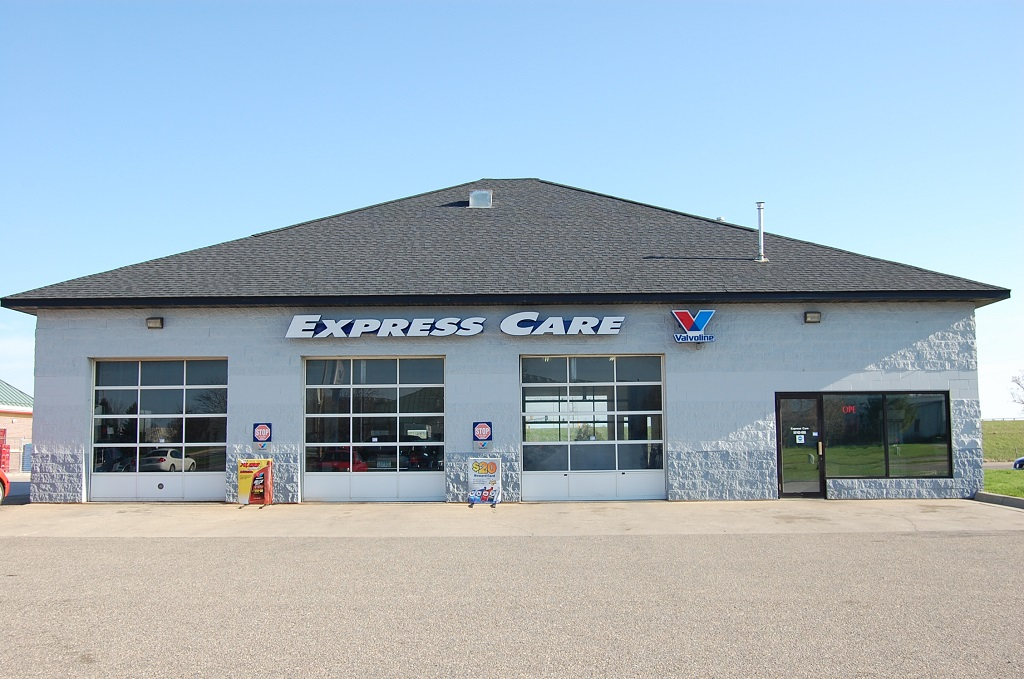 Front Shop Exterior of Express Care Auto Shop, Mankato, MN